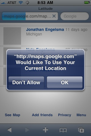 Google Latitude is available on your iPhone via Safari (e.g. a web app) and not as a native app.  The browser requests the user for permission to access the phone's location API.