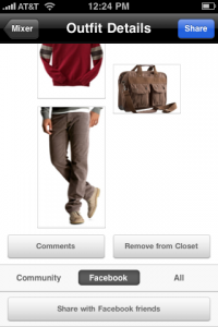 GAP's StyleMixer App let's you beam a potential new outfit up on your FB wall to get reactions.